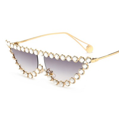 Women's Diamond Sunglasses Vintage Cat Eye Thin Metal Frame Sunglasses Fashion Accessories for Lady Women Girl