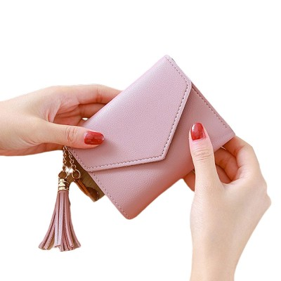 Women Coin Purse with Retro Tassel Pendant Ladies PU Leather Purse Women Fashion Accessories Short Travel Clamshell Purse Clutch