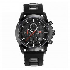 MINI FOCUS Fashion Male Quartz Watch Men Chronograph 3 Sub-dials 6 Hands Calendar Silicone Strap Waterproof 30 Meters Sport WristWatch