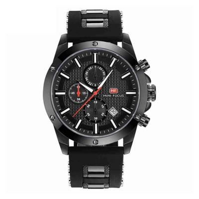 MINI FOCUS Fashion Male Quartz Watch Men Chronograph 3 Sub-dials 6 Hands Calendar Silicone Strap Waterproof 30 Meters Sport WristWatch
