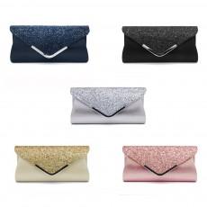 Women Evening Clutch PU Leather Sequin Handbags Hand Catching Bag Clutch Bag Make Up Bag Banquet Bag