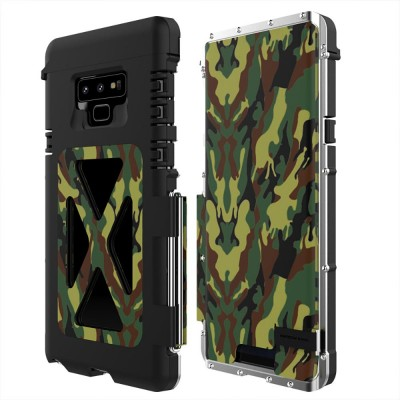 Phone Cover for Samsung Note 9, Metal Protective Phone Case, Creative Anti-smash Cover with Sucking Disk Folding Design, Phone Cover Handset Accessories