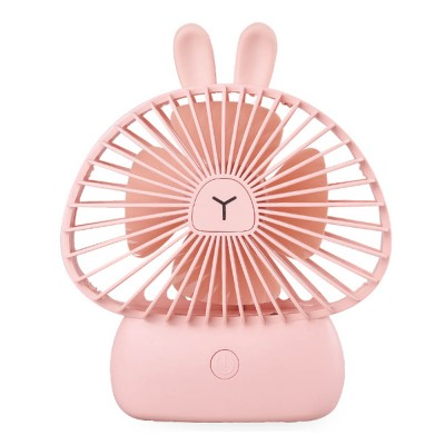 Portable Desk USB Fan Mini Stroller Table Fan with USB Rechargeable Battery Small Size 4 Speeds for Home Office and Dorm-White