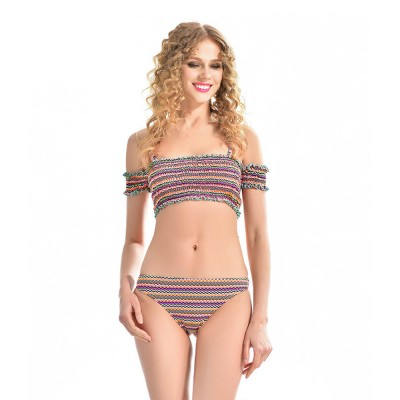 Off Shoulder with Straps Bikini for Girls, Tube Top Split Bikini, Women Sexy Swimwear 2 PCS, Women Colored Lines Popular Off Shoulder Beach Suit