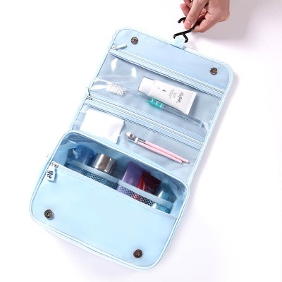 Large Capacity Waterproof Twill Fabric Makeup Cosmetic Bag, Minimalist Portable Functional Travel Toiletry Wash Storage Hanging Bag