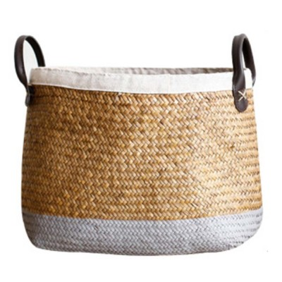 Handmade Woven Basket Large Capacity Home Toys Storage Bag Shopping Bag Fashion Home Flower Basket Decor with Leather Handle