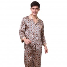Stylish Spring Summer Silk Long Sleeve Sleepwear Set for Men, Luxury Elegant Decorative Pattern Satin Long Pajamas Suit