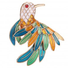Delicate Fancy Bird of Paradise Model Breastpin for Ladies, Colorful Oil-spot Glaze Brooch Clothes Ornament Decoration