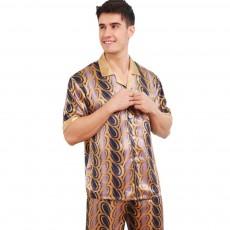 Spring Summer Artificial Silk Men Short Sleeve Pajamas Set, Delicate Elegant Pattern Satin Long Sleepwear Suit