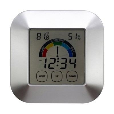 Temperature & Humidity Touch Electronic Weather Clock, Indoor Temperature & Humidity Gauge, Comfort Indicator Thermometer
