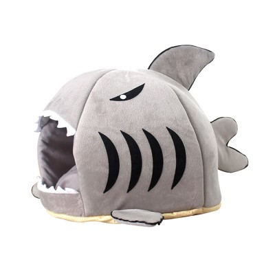 Shark-shaped Cattery Four Seasons Warm  Cat Nest, Winter Cattery Indoor Closed Cat Beds