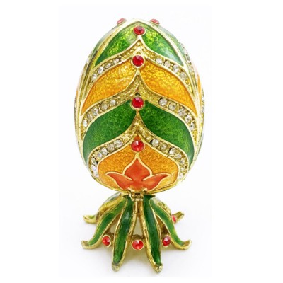 Retro Luxury Jewelry Box with Creative Egg Shape, Zinc Alloy Trinket Jewelry Box with Metallic Floral Engraved Unique Keepsake Gift Case for Home Decor