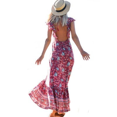 Sexy Strap Dress 2019 Spring Summer New Hot Bohemian Dress Printed Dress for Women Lady