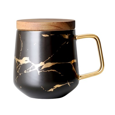 Gold Marbling Ceramic Cup Household Use Coffee Mug with Cover Saucer, Matt Golden Marbling Mug Breakfast Drinkware