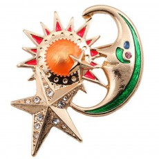 Sun Star Moon Breastpin, Fancy Delicate Shiny Alloy Brooch Scarf Ornament Oil-spot Glaze Rhinestone Decoration Brooch