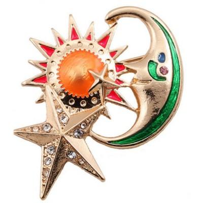 Sun Star Moon Breastpin, Fancy Delicate Shiny Alloy Brooch Scarf Ornament Oil-spot Glaze Rhinestone Decoration Brooch