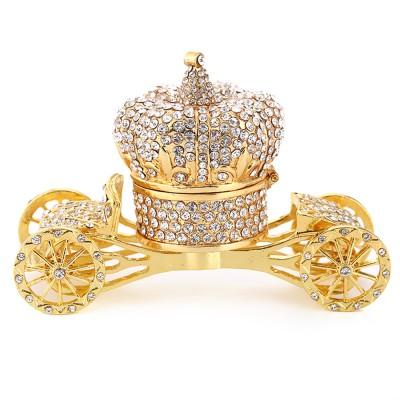 European Style Luxury Jewelry Storage Case, Diamond-mounted Artwork Crown Storage Box with Car-shaped Decoration Ornament