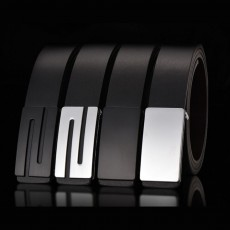 Minimalist Ultra-soft Smooth PU Men Alloy Slide Buckle Belt, Casual Youth Waist Band for Men Students
