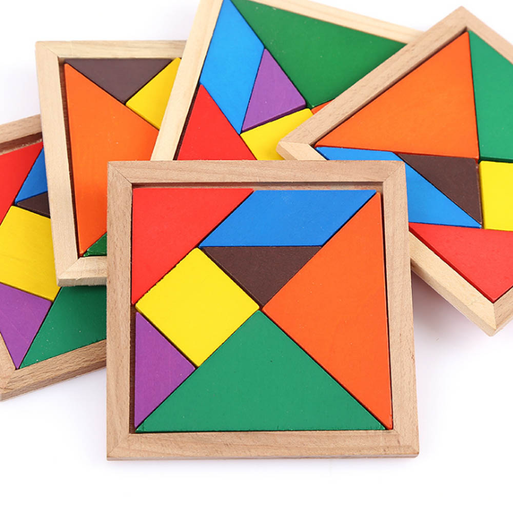 Geometric Shapes Puzzles with Wood Material, Colorful Environmental Paint Construction Toys for Children Over 3 Year-old Shock-Resistant Seven-piece Puzzle