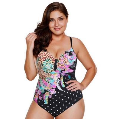 Women Floral Print Bikini Sexy One-piece Push-up Backless Deep V-neck Swimsuit Women Fashion Accessories Tankini Bath Suit