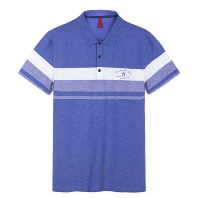 Cool Contrast Tops for Men, Recreational Edition Short-sleeve Polo, Breathable Spandex Cotton T-shirt