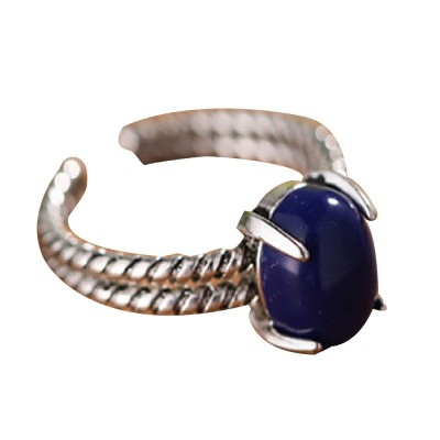 925 Sterling Silver Open Cuff Ring, Adjustable Ring with Blue Crystal for Men & Ladies Archaize Elegant Jewelry Rings