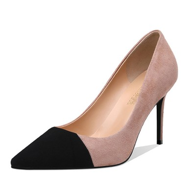 Kid Suede High-heeled Shoes for Women, Nude Black Concise Style High Heels, Pointed Design Gum-rubber Outsole Sandals