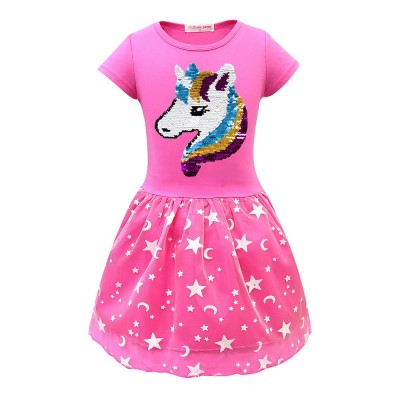 Girl Unicorn Princess Dress, Cute One-Piece Party Outfit Skirt Set, Bubble Skirt for 3-8 Years Old Girls
