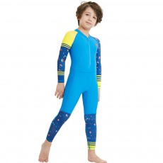 Outdoors Sunblock One-piece Swimsuit, Long Sleeve Sunscreen Quick-dry Swimwear for Diving, Snorkeling Children Swimwear