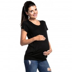 Maternity Women Blouse, Pure Color Nursing T-shirt, Loose Tunic Tops Short Sleeve Breastfeeding Top