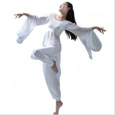 Yoga Dress Suit White Dancing Wear with Long Sleeves, Women Elegant Slim-fitting Performance Wear, Formal Dancing Dress Suit