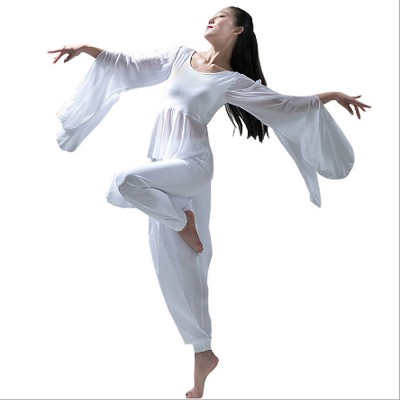 Yoga Dress Suit White Dancing Wear with Long Sleeves, Women Elegant Slim-fitting Performance Wear, Formal Dancing Dress Suit