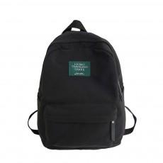 Fashion Black Backpack with Waterproof Nylon, Embroidery Flip Cover Shoulder Bag for Women Zipper Shoulder Bag