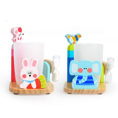 Cartoon Toothbrush Holder Set, Kids Toothbrush Cup Glass with 3 Minutes Sandglass, Timer, Best Gifts for Kids