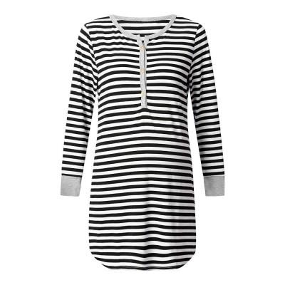 Maternity Dress with Striped, Nursing T-shirt Dress, Loose V-neck Pregnancy Dress Long Sleeve Breastfeeding Top