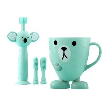 Cartoon Wheat Straw Toothbrush for Babies, Training Toothbrush for 0-3 Year-old Babies, Baby Teeth Cleaning Brush with Toothbrush Cup