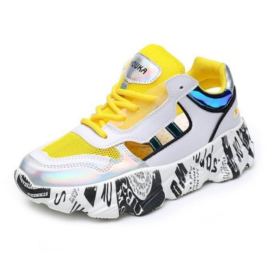 Thick Sole Hollow-out Sports Shoes for Outdoors, Mesh Vamp Casual Clunky Sneaker, All-match Torre Shoes 2019 Spring Summer