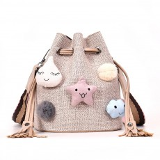 Women Bucket with Straw Shoulder, Drawstring Hobo Beach Travel Bag, Small Doll Crossbody Bag for Lady
