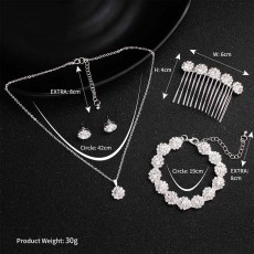 Wedding Bridal Jewelry Set 5 Pack, Women Fashion Accessories with Crystal Necklace, Earrings, Bracelet, Hair Comb