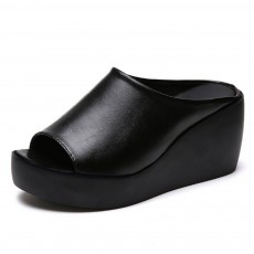 Large Size Sandals Summer Wedge Heels, Open-toes Shoes Fashionable Sandals for Outdoor Wearing
