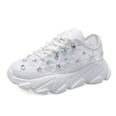 Diamante White Shoes with Grenadine Fabric, Thick Heel Casual Style Sneakers, Thin Gym Shoes 2019 Summer Spring