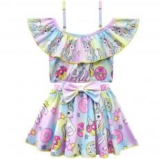 Girl Unicorn Printed Swimsuits, Cute One-Piece Ruffle Swimwear for Beach 3-10 Years Old Girls Bathing Suit