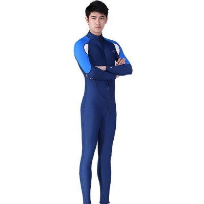 One-piece Unisex Diving Suit, Multifunctional One-piece Sunblock Diving Dress, Surfing Swimsuit Snorkeling Swimwear of Jellyfish Prevention Bathing Suit Blue