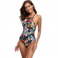 2019 Western Style Bikini Foreign Trade, Fashionable Sexy Fruit Printing One-piece Bikini, Dew Back Style Swim Wear
