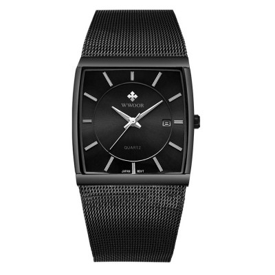 Square Waterproof Wrist Watch for Men, High Quality Mesh Strap Watch with Calendar, Bussiness Man Watch