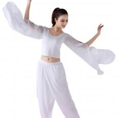 Beauty Shaped Yoga Wear for Women, Cotton Chiffon Yarn Belly Dance Formal Clothes Suit, Slim-fitting Performance Clothes Suit for Yoga, Fitness, Exercise