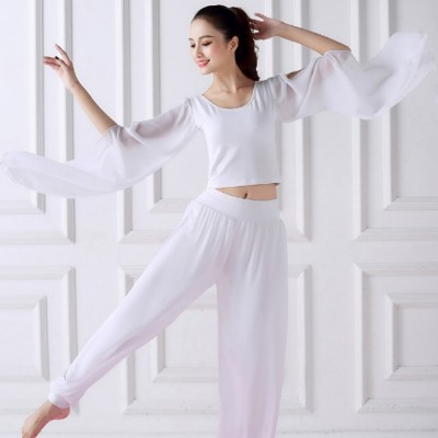 Beauty Shaped Yoga Wear For Women Cotton Chiffon Yarn Belly Dance Formal Clothes Suit Slim Fitting Performance Clothes Suit For Yoga Fitness Exercise Clothing Accessories