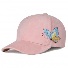 Suede Fabric Material Baseball Cap for Women, Embroidered Thicken Peaked Cap for Winter, Autumn, Butterfly Embroidery Cap