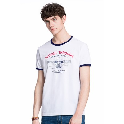 Men's Summer Tees, Short Sleeve O-neck T-shirt, Fashion Stretch Casual Quick-dry Lettering T-shirts for Men