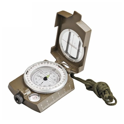 Outdoor Compass for Hiking, Camping, Portable Compass Metal Sighting Navigation with Magnifier Inclinometer Ruler, Luminous Compass